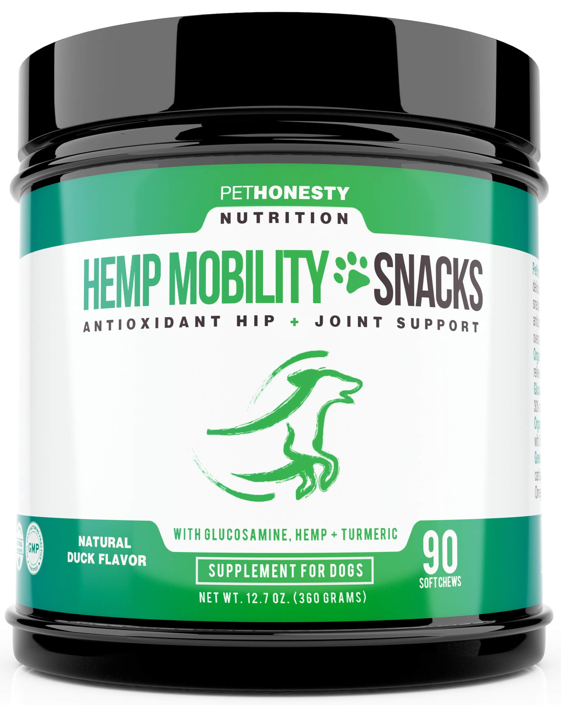PetHonesty Antioxidant Hip and Joint Supplement for Dogs with Hemp - Glucosamine & Chondroitin, Turmeric, MSM, Green Lipped Mussel, Improve Mobility, Reduces Arthritis & Inflammation, 90 Ct