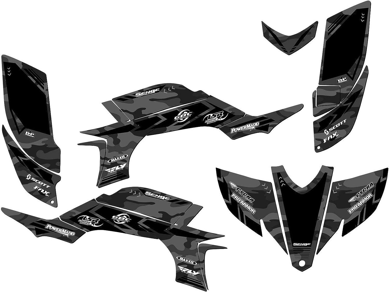13 Fly Racing Black Graphics Kit with blank number plates Steel Frame Senge Graphics Kit compatible with Yamaha 2003-2008 YFZ 450