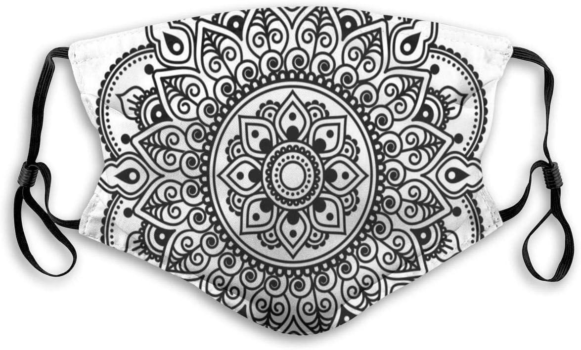 Olive Croft Gesichtsschutz Mundschutz Symmetrisches ethnisches Blumenmuster /Östliche Kultur Inspiriertes monochromes Mandala