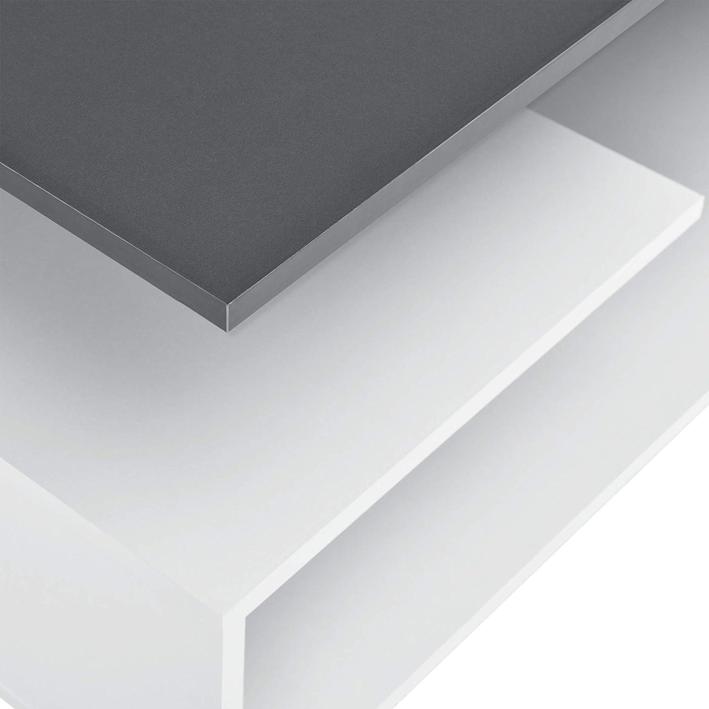 en.casa Tavolino da Salotto con 3 Mensole 90 x 50 x 41 cm Tavolino Basso da caff/è Truciolato Bianco