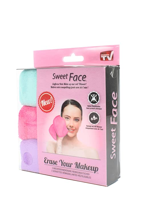 Sweet Face Makeup quitamanchas (Gamuza Make Up Eraser pañuelos de limpieza facial (3 unidades