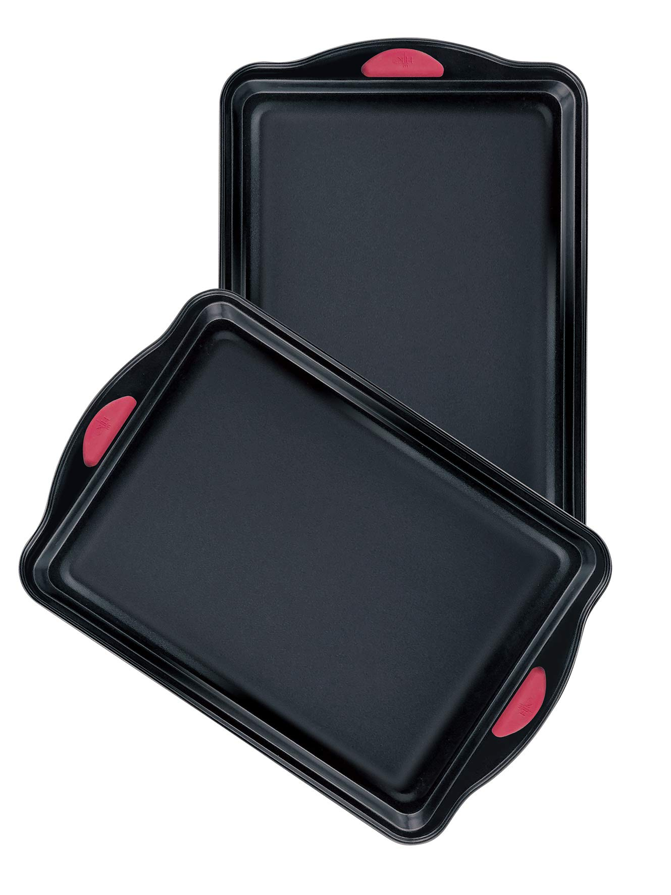 Hell's Kitchen Nonstick 8 Piece Ultimate Bakeware Set - Baking Pans and Baking Sheet in Non Stick with Red Silicone Grips - Bakeware Set includes Cookie, Cake, Muffin, Roasting and More by Hell's Kitchen (Image #6)