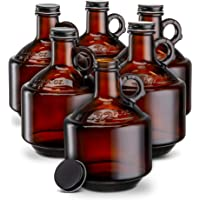 Deals on Set of 6 Kook Amber Glass Bottles Growlers 32oz