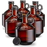 Amber Glass Bottles, by Kook, Growlers, with Black Plastisol Lined Lids, Beer, Soda, Cider, Kombucha, Set of 6, 32oz,