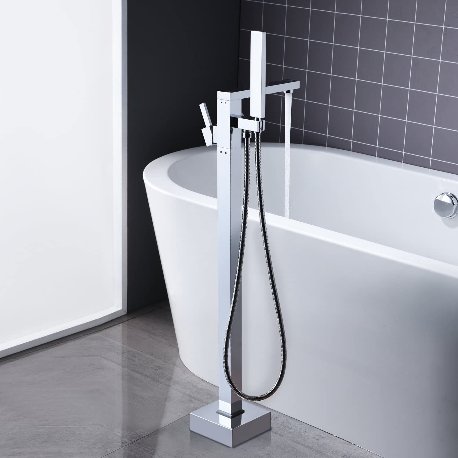 Arputhy Freestanding Bath Mixer Tap Bathroom Taps Chrome Brass Floor Mounted Filler Faucet with Handheld Shower
