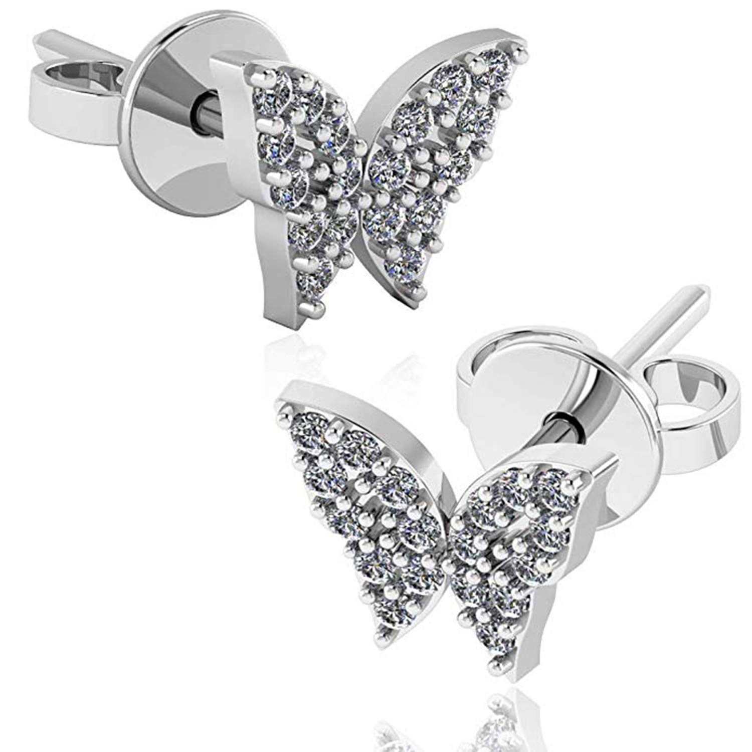 14K White Gold Plated Simulated Diamond Studded Earrings For Womens Girls Jewellery