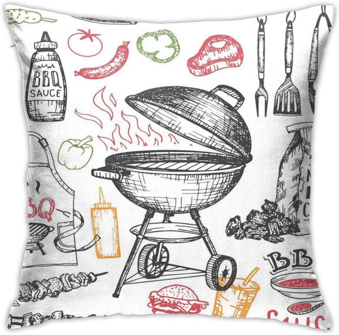 Fundas de Almohada, Funda de Almohada para sofá, Parrilla de Barbacoa Dibujada, Barbacoa Blanca, Fiesta de Barbacoa, boceto de Caldera de carbón con Herramientas y Alimentos Vintage