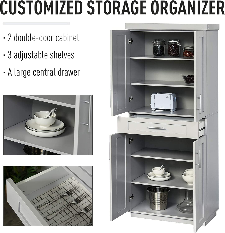 HOMCOM Modern Kitchen Pantry Freestanding Cabinet Cupboard with Doors and Shelves, Adjustable Shelving, Grey: Furniture & Decor