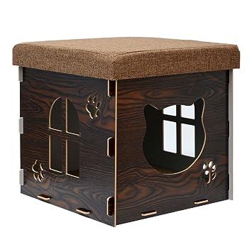eyepower Cama para Gato 38x38x38cm pequeño S caja cuadrada para mascota con tapa acolchada para sentarse