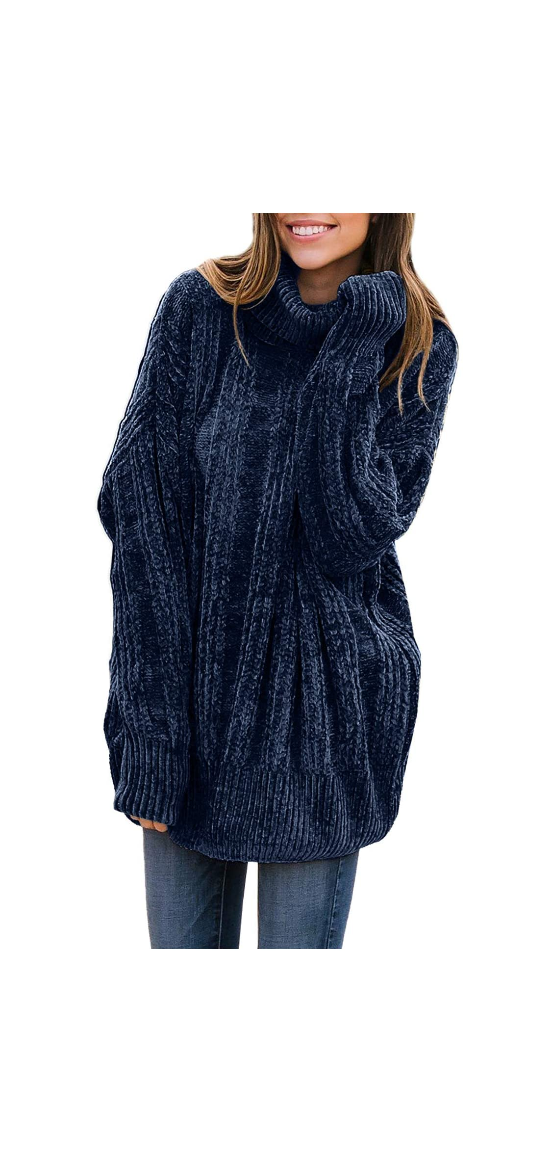 Women's Casual Cozy Turtleneck Long Sleeve Pullover Tops
