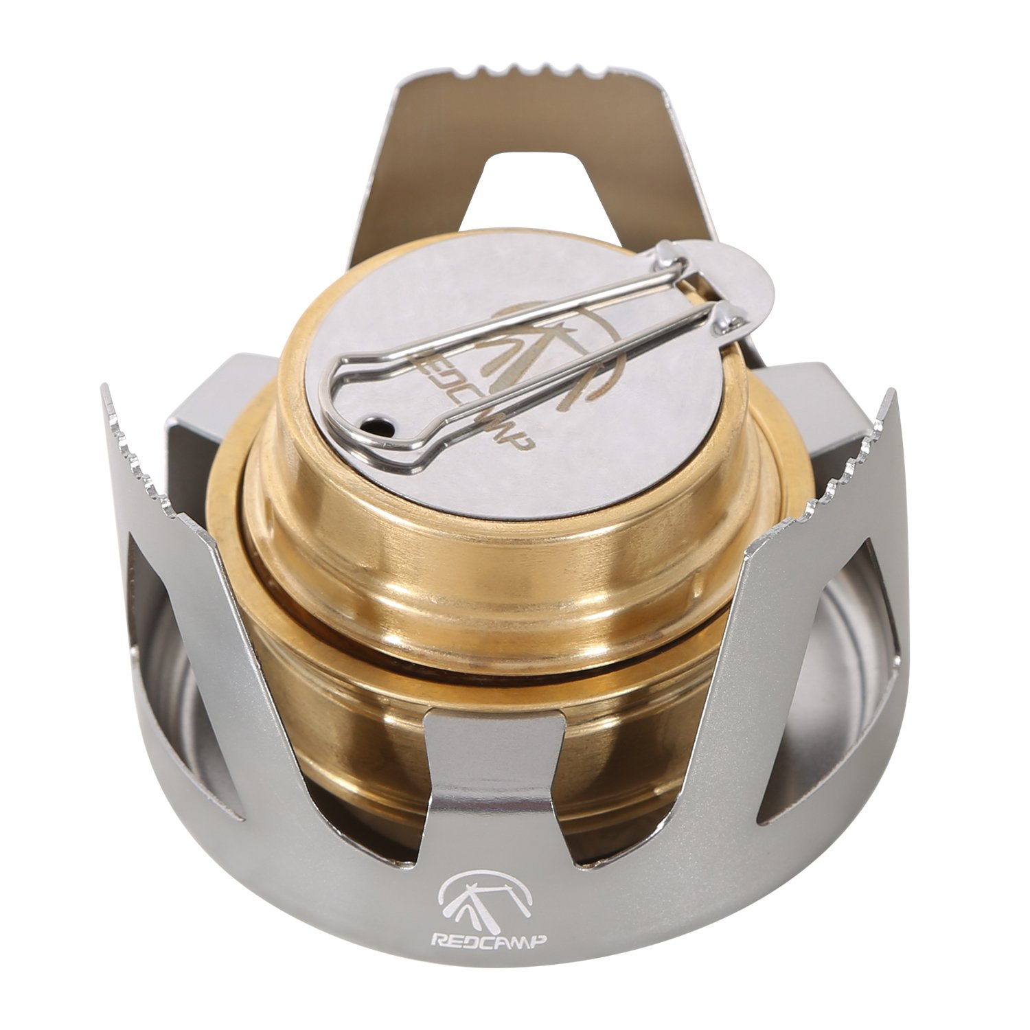 REDCAMP Mini Alcohol Stove for Backpacking, Lightweight Brass Spirit Burner with Aluminium Stand for Camping Hiking, Silver by REDCAMP