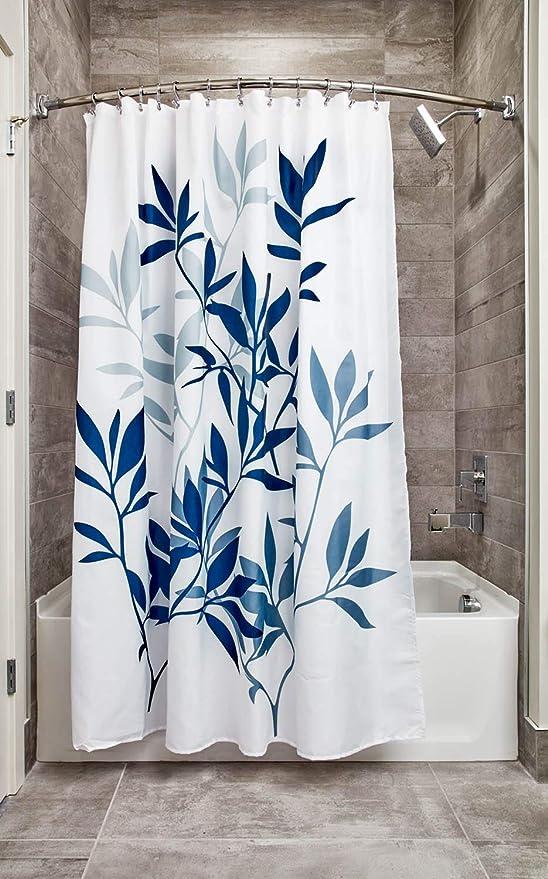 Amazon Com Idesign Leaves Botanical Fabric Bathroom Shower Curtain 72 X 72 White Blue Home Kitchen