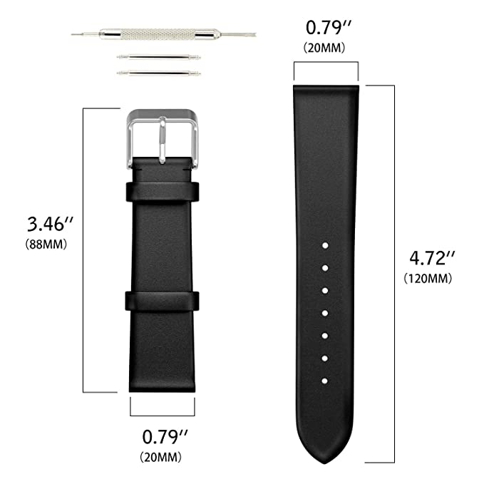 Emibele 20mm Universal Watch Band, Premium Genuine Leather with ...
