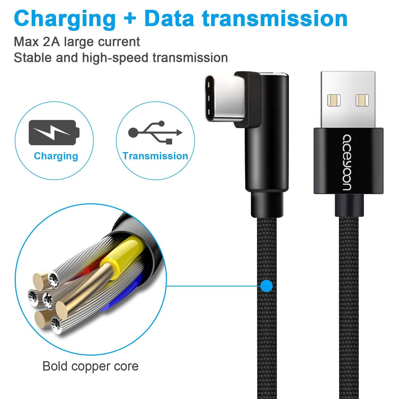 aceyoon Cable Tipo C Corto 30cm 3 Pack ángulo USB C Rapida Cargador 90 Grado nylon trenzado Carga y Transmisión de Datos para Samsung S8 Galaxy HTC Oneplus ...