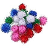 "Jocestyle Cat Kitten Sparkle Balls Multicolor Pom Poms Playing Toy 1.5"" ,100 Pack"