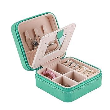 ProCase Estuche Joyero Pequeño, Mini Caja Almacenamiento Portable para Joyería, Organizador de Viaje de Doble Capa con Espejo para Joyas Collares ...