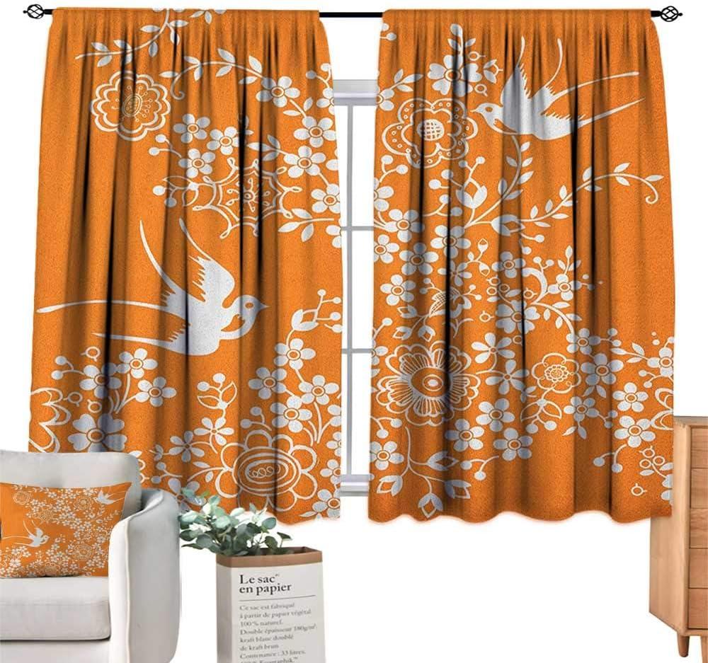 familytaste - Cortinas y Cortinas con diseño de Flora y Fauna asiáticas, Color Naranja y Blanco, Siluetas y Flores para habitación de niños, 63 x 45 cm: Amazon.es: Hogar