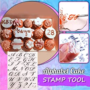 Alphabet Cake Stamp Tool, Food-Grade Alphabet Biscuit Fondant Cake/Cookie Stamp Mold Set - Reusable & Easy to Clean, Unique Letter Shaped DIY Cookie Biscuit (1pcs Stamp Tool+1 Stamping Board)