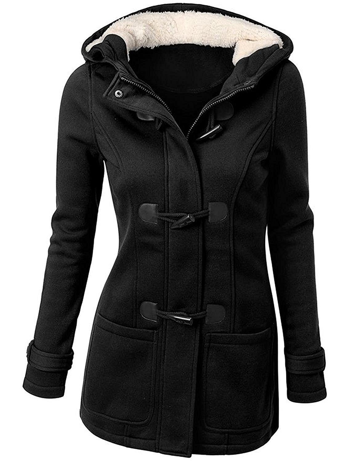 OLUOLIN Womens Winter Wool Blended Walker Coats Hooded Jacket Overcoat Black