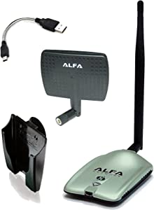 Alfa AWUS036NH 2000mW 2W 802.11g/n High Gain USB Wireless G / N Long-Range WiFi Network Adapter with 5dBi Screw-On Swivel Rubber Antenna and 7dBi Panel Antenna and Mini bendable Flex cable and Suction cup / Clip Window Mount