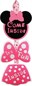 RORARO Minnie Mouse Theme Door Sign Come Inside Its Fun Inside Welcome Hanger for Girls Minnie Birthday Party Decorations Supplies Polka Dot Bowknot OH Two DLES