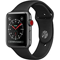 Apple Watch Series 3 (GPS + Cellular), 42mm Space Gray Aluminum Case with Black Sport Band - Grey (Refurbished)