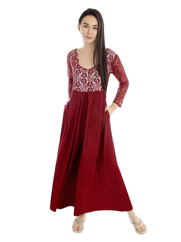 69f4f0870f Patrorna Women s Lace Trimmed Blouseon Nighty Night Dress Gown (Size S-7XL