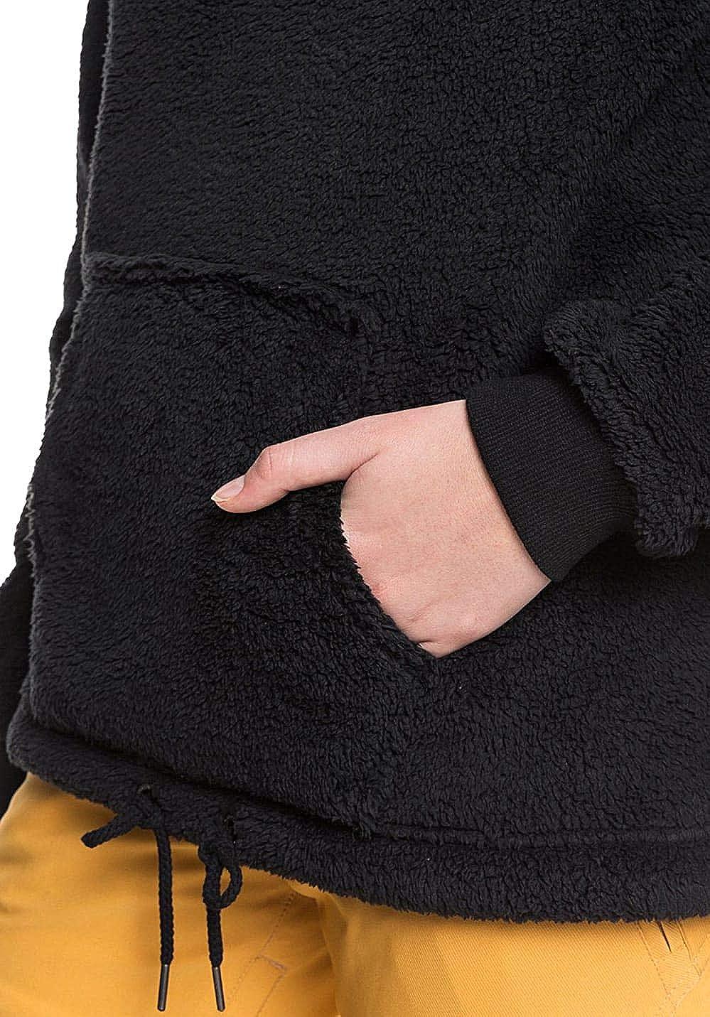 Roxy Pluma Sherpa Womens Pullover Hoody True Black