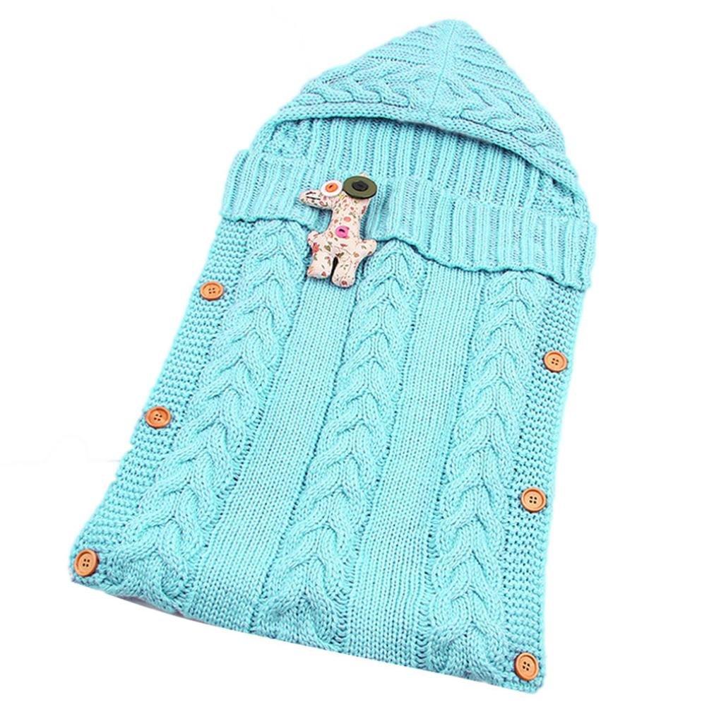 Cute Baby Knitted Blanket Swaddle, Kolylong Sleeping Bag Toddler Sleep Sack Stroller Wrap (Gray)