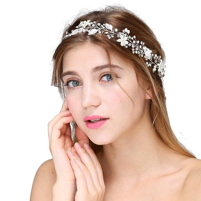 sposa capelli clip oro capelli pettine banda vintage di cristallo dei  capelli di strass gioielli da sposa perla strass perle di nozze posticci  Perline con ... 6d9751f76486