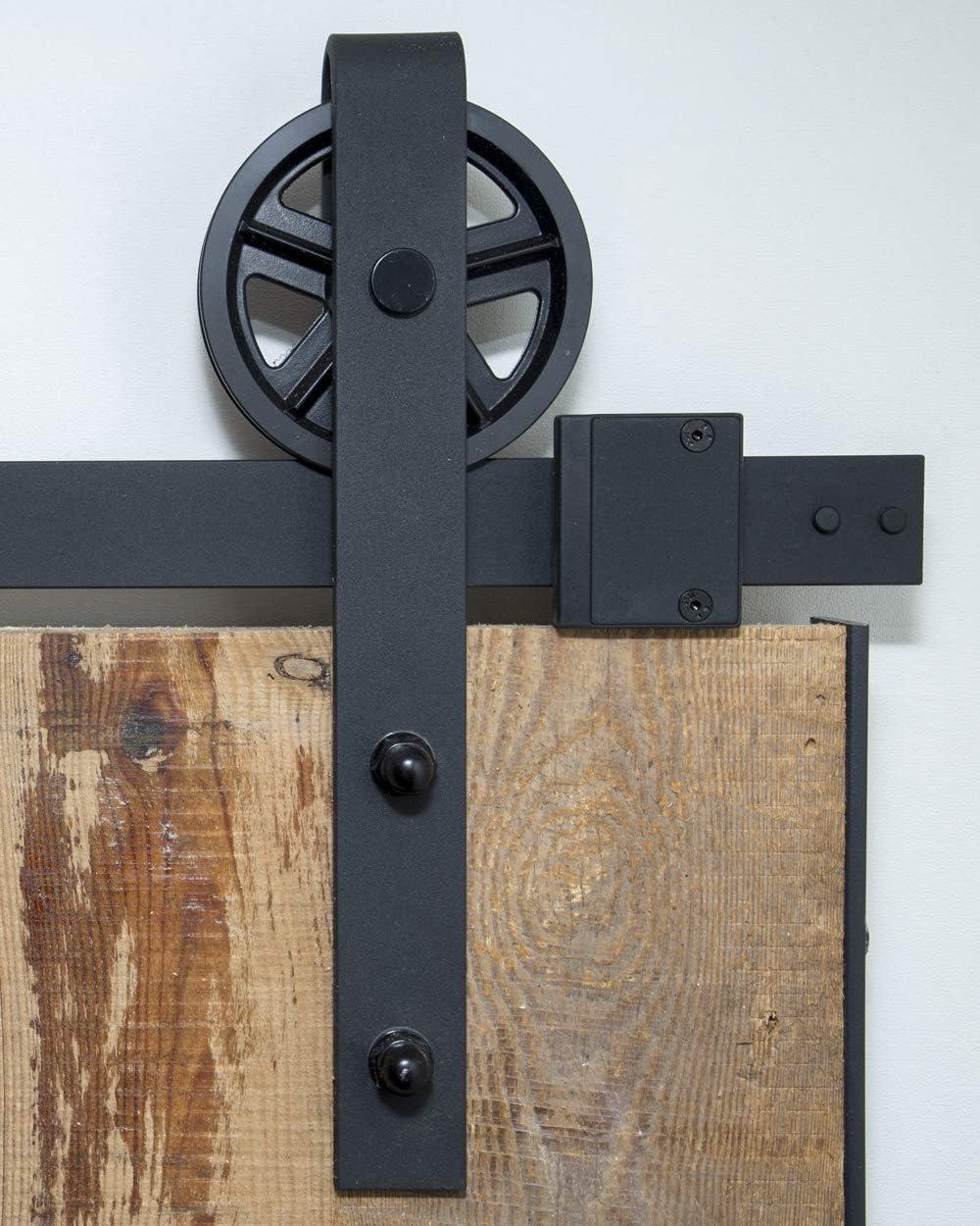 Sistema de puerta corredera, rueda de radios de 200 cm, juego completo con ruedas y carril, sistema de puerta corredera de 2 metros, rueda de radios -Spoke wheel black
