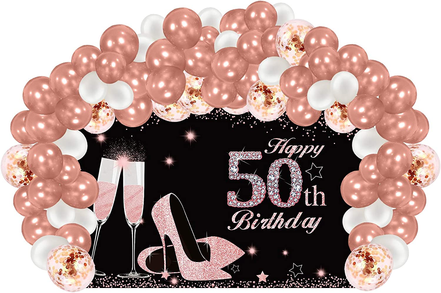 Excelloon 50th Birthday Banner Backdrop Decorations with Balloon Garland Arch, Large Happy 50th Birthday Banner Balloon for Women, Rose Gold 50 Years Old Birthday Party Supplies Décor