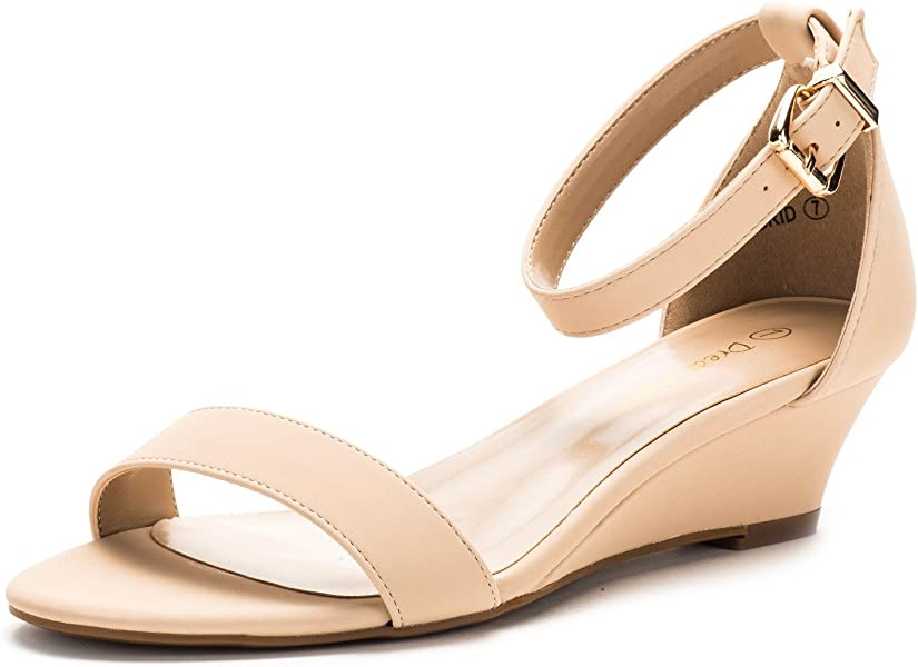 ef8506ae818 DREAM PAIRS Women s Ingrid Nude Nubuck Ankle Strap Low Wedge Sandals - 5 ...
