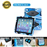 ipad 2/3/4 case,kidspr ipad caseNEWHOT Super Protect[shockproof] [rainproof] [sandproof] with Built-in Screen Protector for Apple iPad 2/3/4,2015 new style for ipad 2/3/4 (Camouflage blue+black)