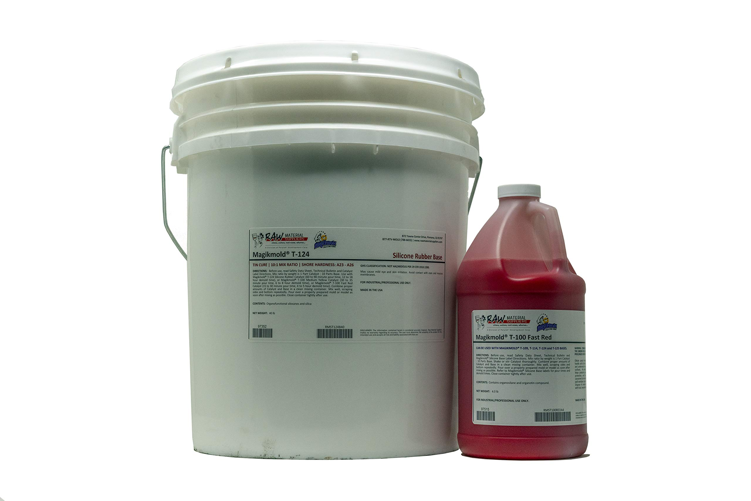 Magikmold T-124 Tin Cure Silicone - 44lb Kit - Fast Red Catalyst