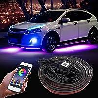 Auto ondervloer Neon Light, 35 & 23 inch 12 V LED strip onder auto kleur RGB Auto Chassis Light met spraakbediening en…