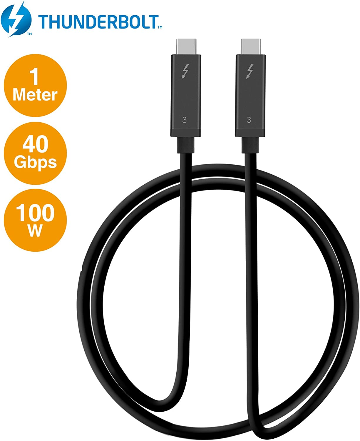 SIIG Thunderbolt 3 Certified, 40Gbps Thunderbolt 3 Active Cable 1M - 100W Charging/5A/20V - Daisy Chain up to 6 Devices - USB Type C with Thunderbolt Logo Compatible - 3.3 Ft