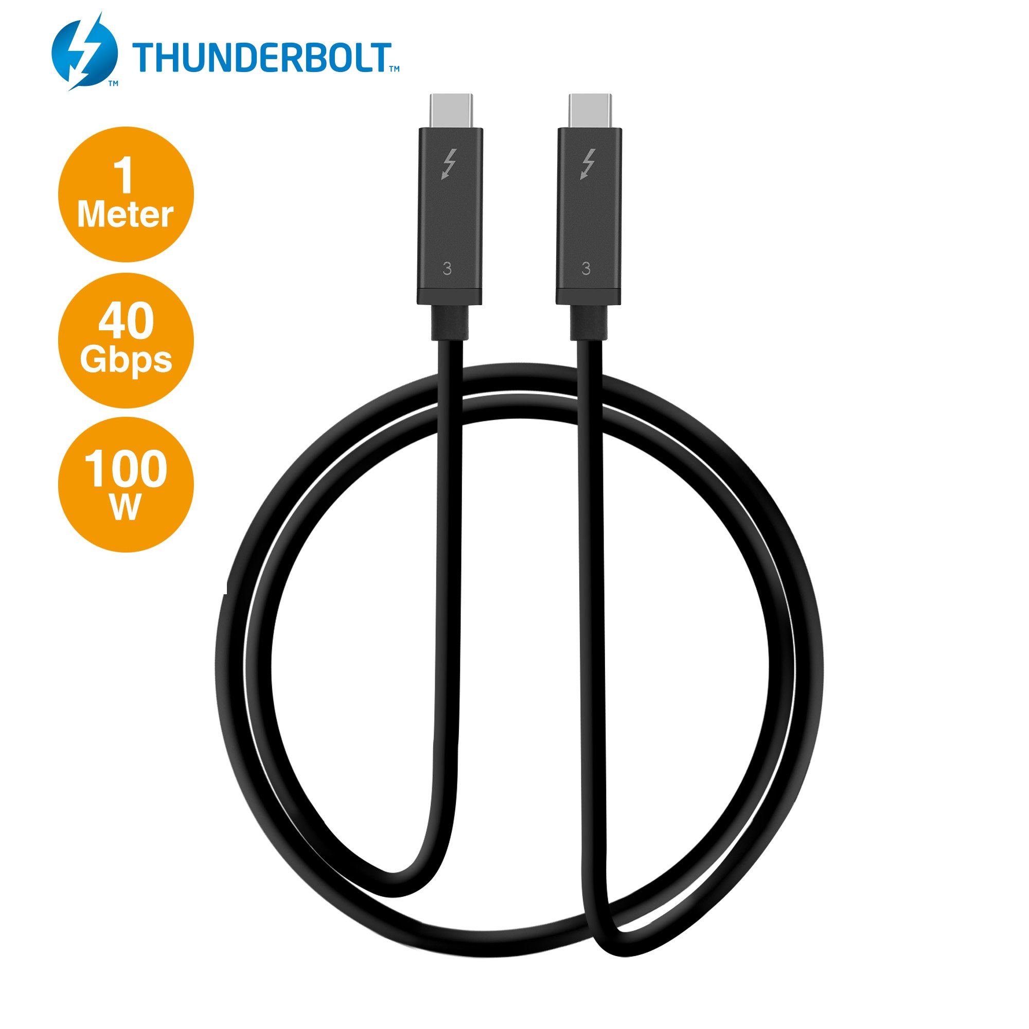 SIIG Thunderbolt 3 Certified, 40Gbps Thunderbolt 3 Active Cable 1M - 100W Charging/5A/20V - Daisy Chain up to 6 Devices - USB Type C with Thunderbolt Logo Compatible - 3.3 Ft by SIIG