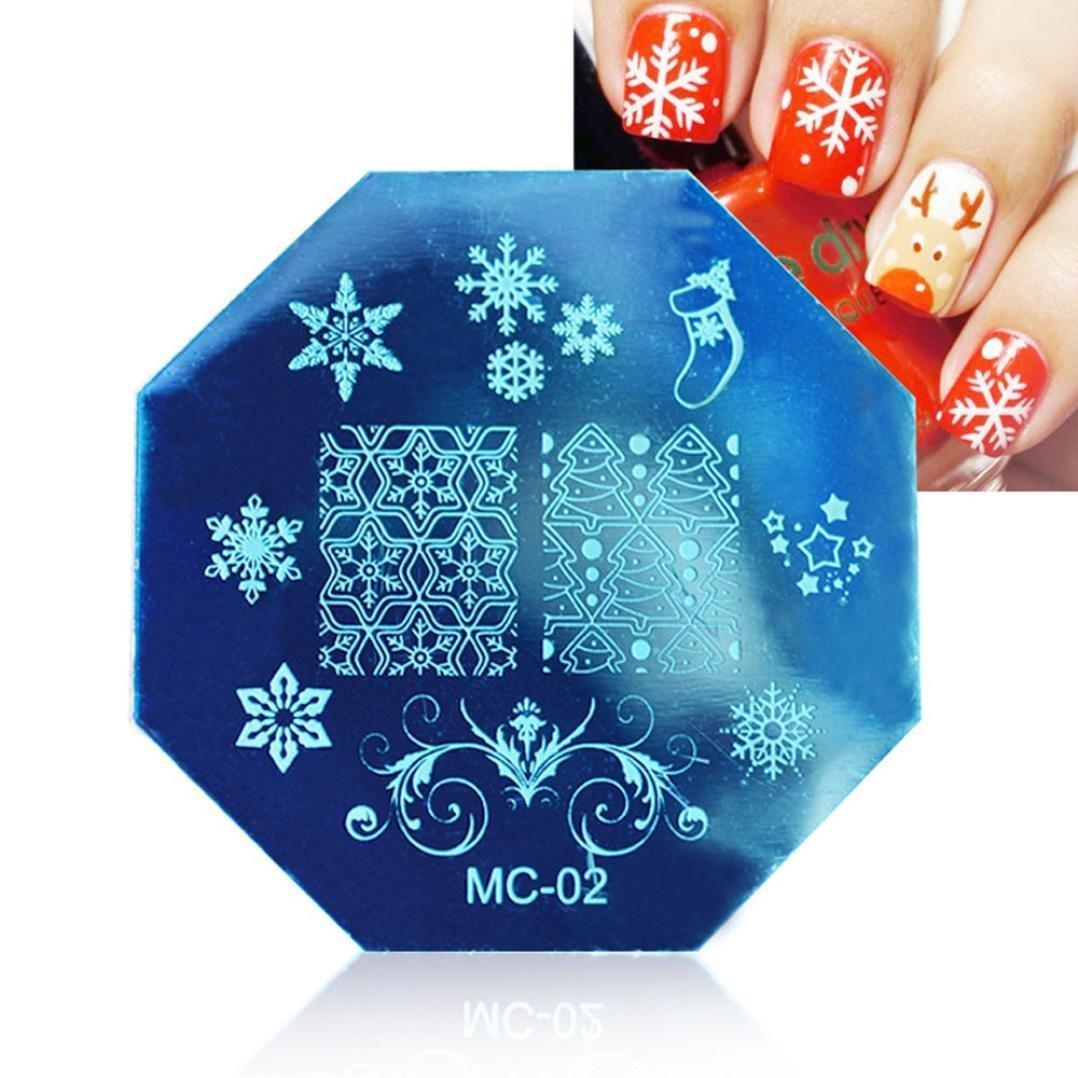 Amlaiworld DIY uñas de manicura plantilla Arte Plate