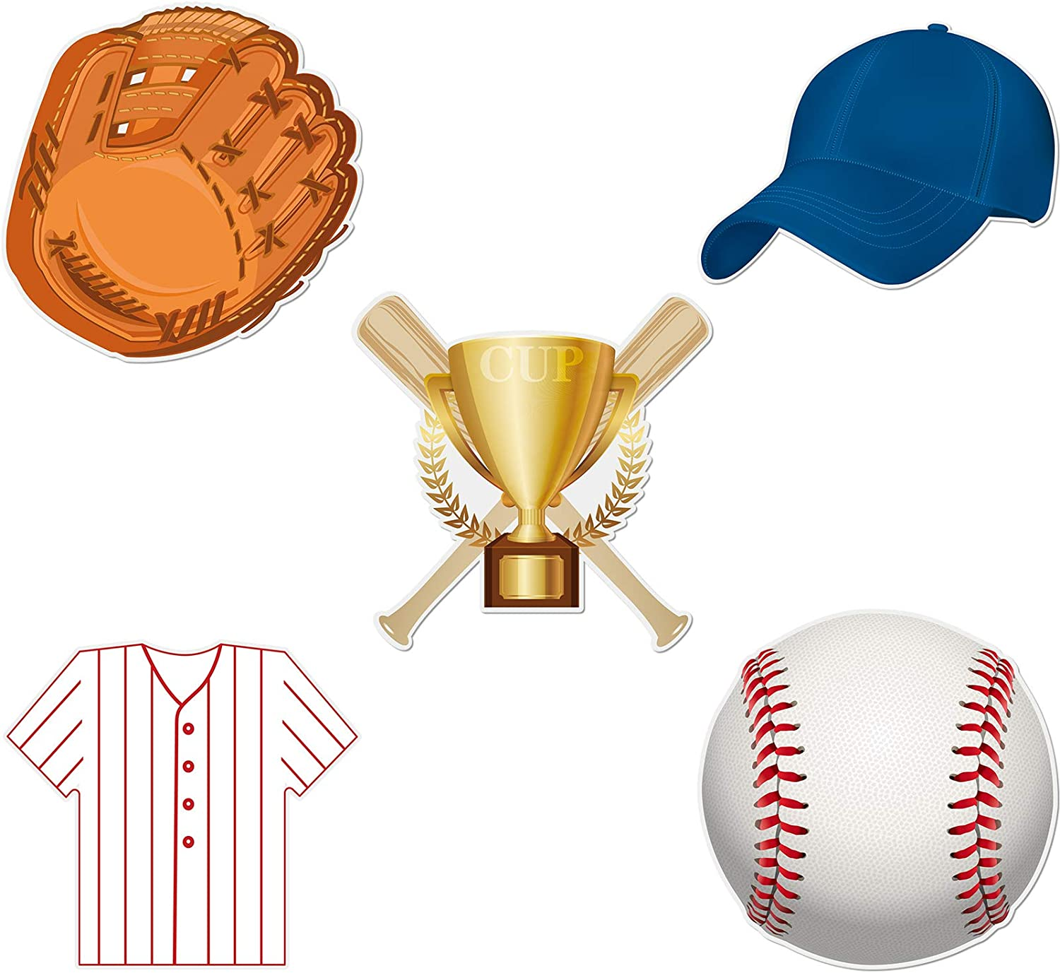 45 Pieces Baseball Paper Cut Outs Versatile Classroom Decoration Sports Themed Cut-Outs with Glue Point Dots for Bulletin Board Classroom School Sports Theme Birthday Party Decoration, 5.9 x 5.9 Inch