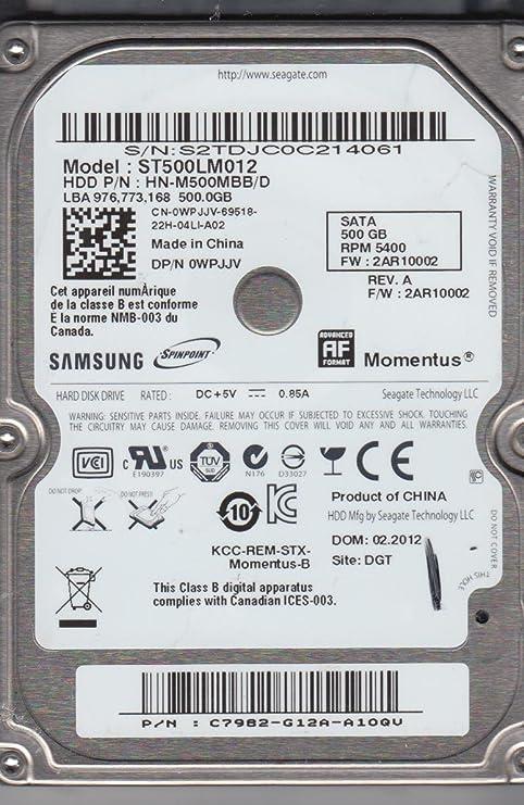 Samsung ST500LM012, hn de m500mbb/D, FW 2 ar10002, Seagate 500 GB ...
