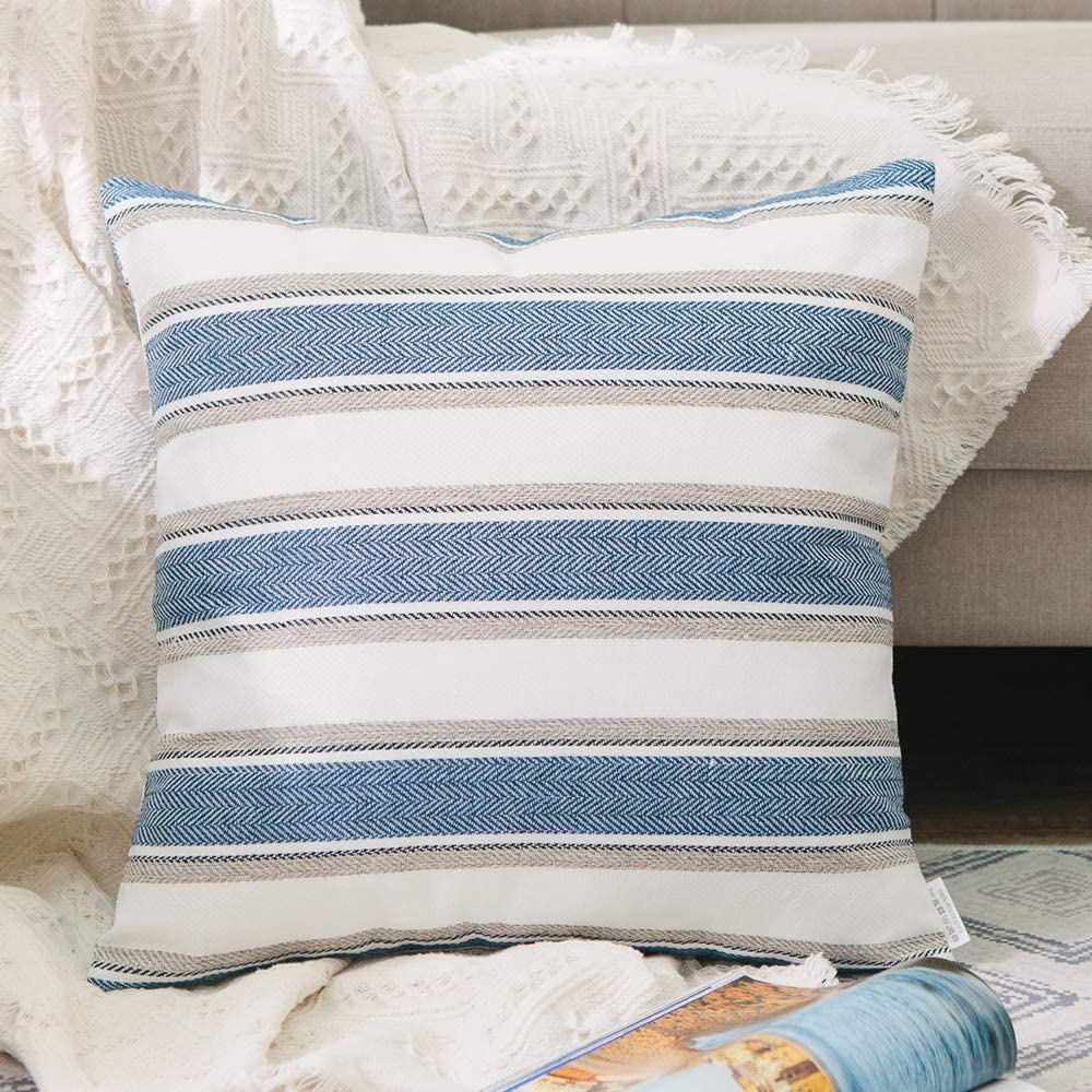 """NATUS WEAVER Stripe Pillow Case Soft Linen Square Decorative Throw Cushion Cover Pillowcase with Invisible Zipper for Bed 16"""" x 16"""""""