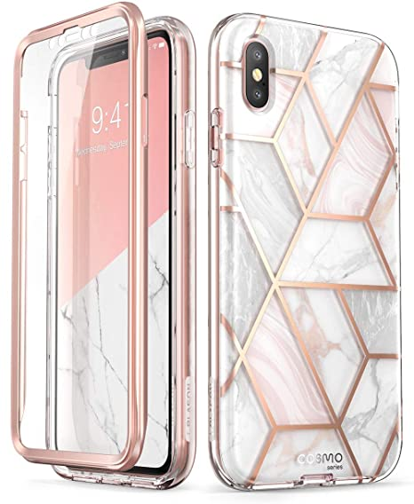 I Phone Xs Max Case, [Built In Screen Protector] I Blason [Cosmo] Full Body Glitter Bumper Case For I Phone Xs 6.5 Inch 2018 Release (Marble) by I Blason