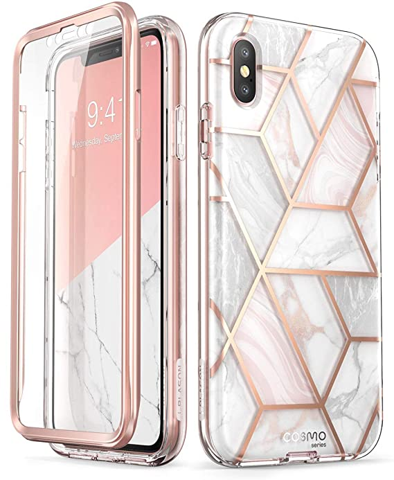 i-Blason Cosmo Full-Body Case for iPhone Xs/ iPhone X Case 2018 Release, Marble, 5.8