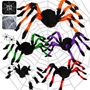 """Ausein Halloween Spider Decorations, 5 Pcs Colorful Giant Spiders(30""""/24""""/20""""/12""""/12"""") + 12FT Spider Web + Cobweb, Large Spiders of Realistic Looking, Scary Halloween Props Indoor Outdoor Yard"""