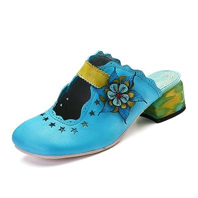 Damen Pantoletten, Sommer Leder Sandalen Leder Vintage Slipper Clogs Espadrilles Bequem Anti-Rutsch Bunte Blume Hausschuhe Blau 2 39 Gracosy