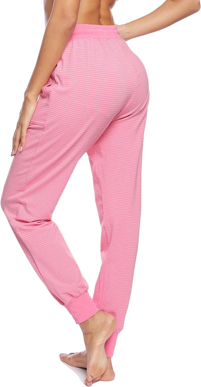 Hawiton Damen Schlafanzughose lang Pyjamahose Baumwolle Gestreifte Nachtw/äsche Hose f/ür Sport,Jogging,Training,Yoga Pink M