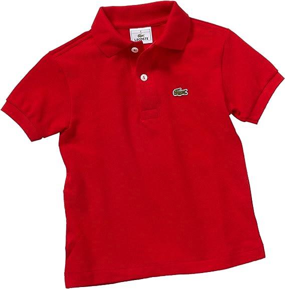 Lacoste - Camisa de Manga Corta para niño, Color Rojo 240, Talla ...