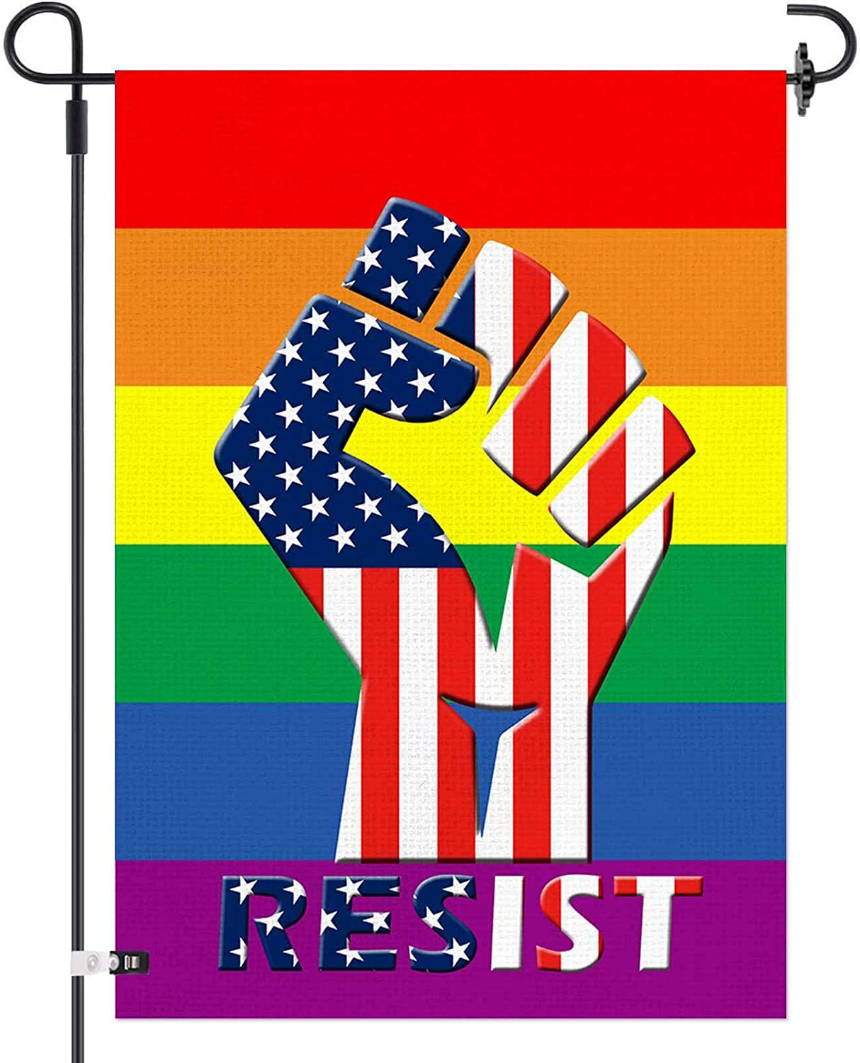 AOKDEER Pride Flag, Double Sided Rainbow Gay Pride American Burlap Garden Flag, Respect Love is Love LGBT Peace Yard House Flag, Vertical Small Banner Decorations 12.5x18 Prime, Lesbian Pansexual Flag