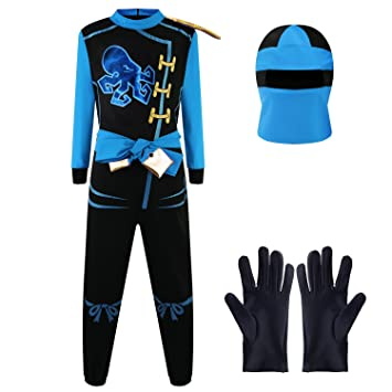 Katara Disfraz de Ninja Dragón para Niño Carnaval, Cosplay, color jay walker, azul, Talla M (6-8 años) (1771)